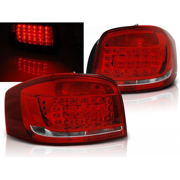 Baklykter AUDI A3 08-12 RED WHITE LED