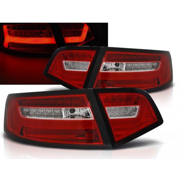 Baklykter AUDI A6 08-11 SEDAN RED WHITE LED BAR SEQ
