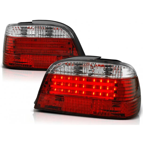Baklykter BMW E38 06.94-07.01 Clear RED WHITE LED