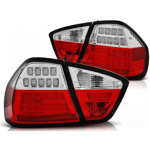 Baklykter BMW E90 03.05-08.08 LIMOUSINE RED WHITE LED BAR