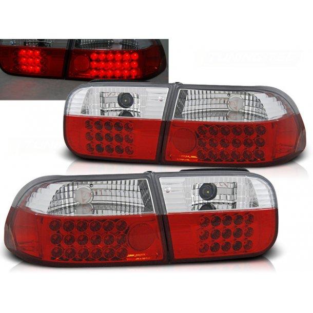 Baklykter HONDA CIVIC 09.91-08.95 2D/4D RED WHITE LED