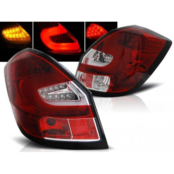 Baklykter SKODA FABIA II 07-06.14  RED WHITE LED BAR