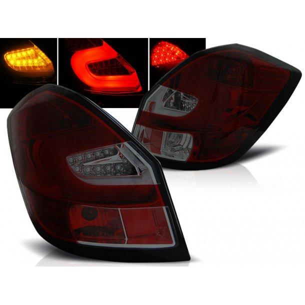 Baklykter SKODA FABIA II 07- 06.14 RED SMOKE LED BAR