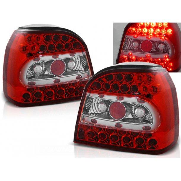 Baklykter VW GOLF 3 09.91-08.97 RED WHITE LED/Clear