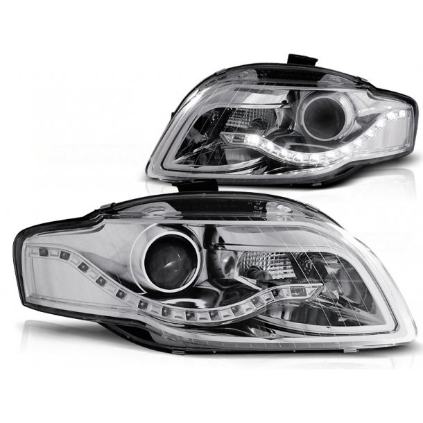 Frontlykter AUDI A4 B7 11.04-03.08 CHROME LED Parking light