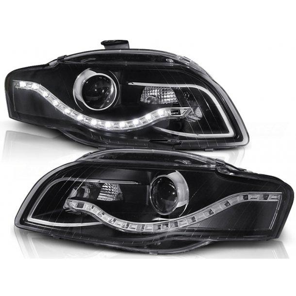 Frontlykter AUDI A4 B7 11.04-03.08 BLACK LED Parking light