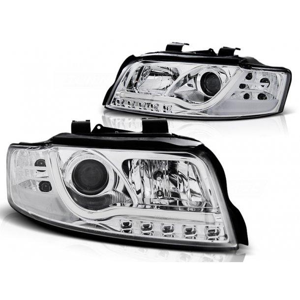 Frontlykter AUDI A4 10.00-10.04 LED P21W TUBE LIGHTS CHROME