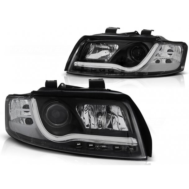 Frontlykter AUDI A4 10.00-10.04 LED P21W TUBE LIGHTS BLACK