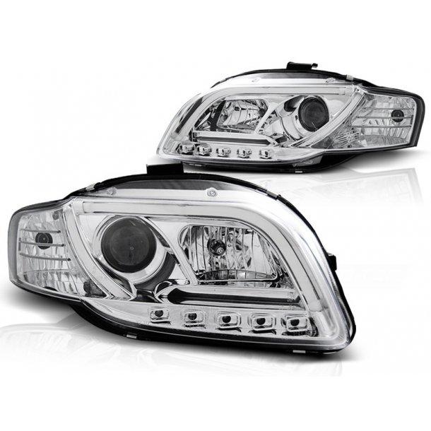 Frontlykter AUDI A4 B7 11.04-03.08 LED P21W TUBE LIGHTS CHROME