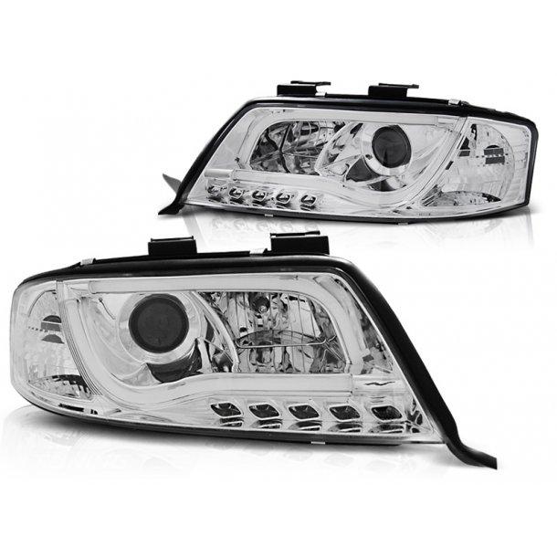 Frontlykter AUDI A6 05.97-05.01 LED TUBE LIGHTS CHROME