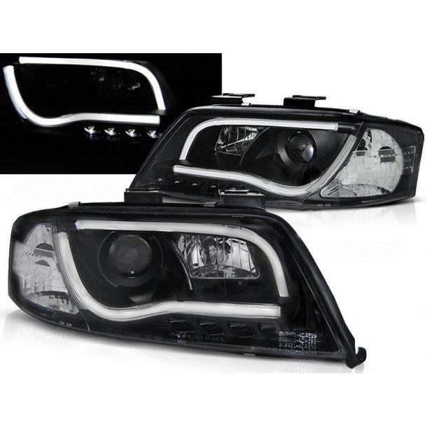Frontlykter AUDI A6 05.97-05.01 LED TUBE LIGHTS BLACK