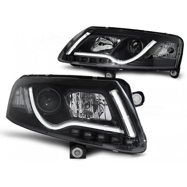 Frontlykter AUDI A6 C6 04.04-08 LED TUBE LIGHTS BLACK