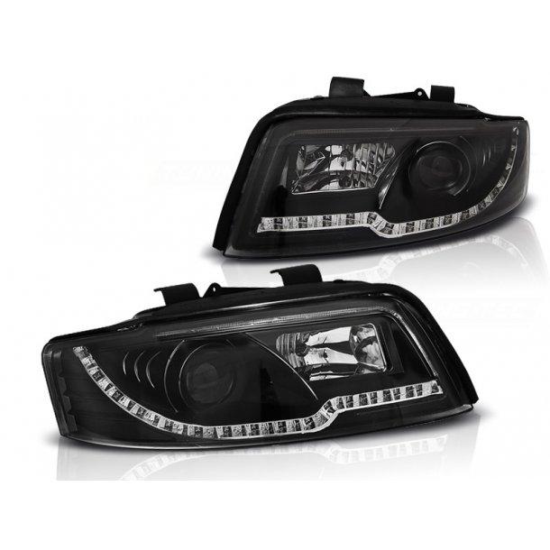 Frontlykter AUDI A4 10.00-10.04 LED TUBE LIGHTS BLACK