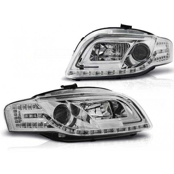 Frontlykter AUDI A4 B7 11.04-03.08 LED TUBE LIGHTS CHROME