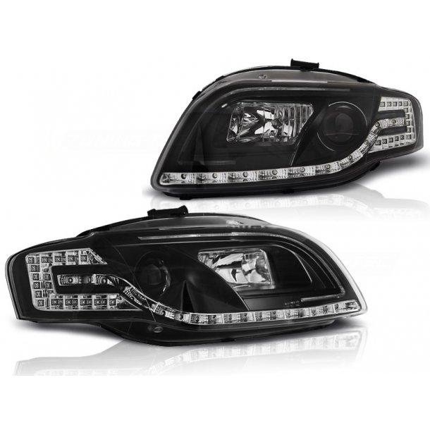 Frontlykter AUDI A4 B7 11.04-03.08 LED TUBE LIGHTS BLACK