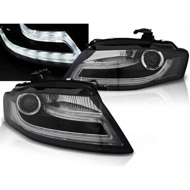 Frontlykter AUDI A4 B8 04.08- 11 TRU DRL BLACK LED
