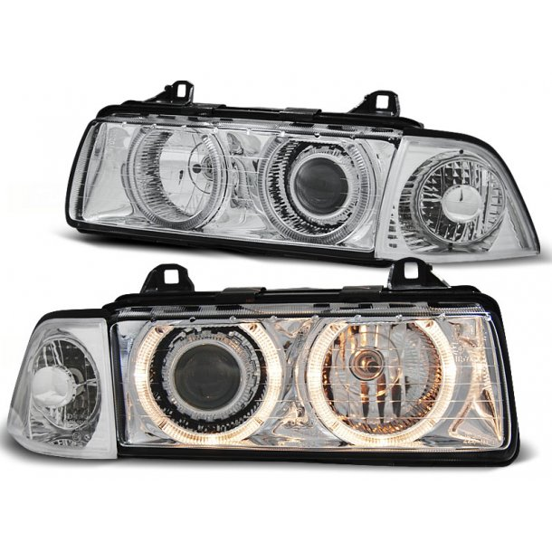 Frontlykter BMW E36 12.90-08.99 ANGEL EYES CHROME Projector headlights
