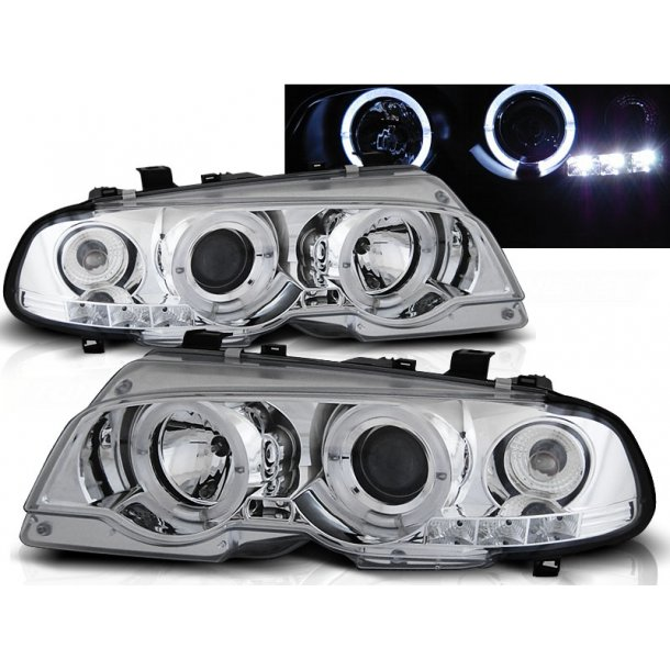 Frontlykter BMW E46 04.99-03.03 COUPE ANGEL EYES CHROME