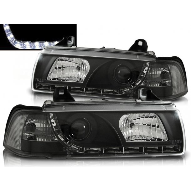 Frontlykter BMW E36 12.90-08.99 DAYLIGHT BLACK LIMOUSINE TOURING COMPACT
