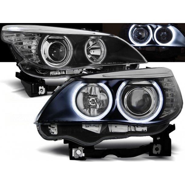 Frontlykter BMW E60/E61 03-07 ANGEL EYES BLACK
