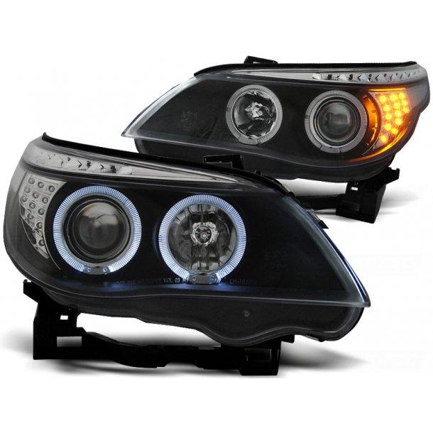 Frontlykter BMW E60/E61 03-07 ANGEL EYES BLACK LED INDIC.