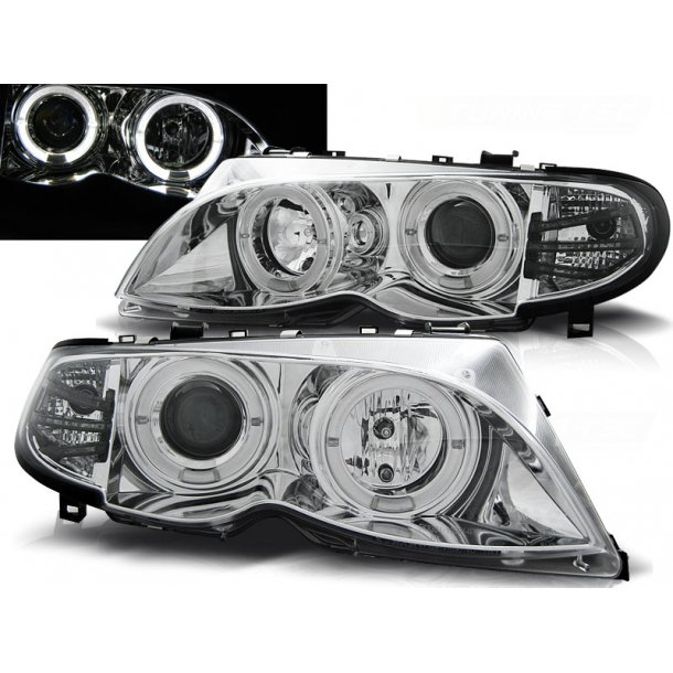 Frontlykter BMW E46 09.01-03.05 ANGEL EYES CHROME LIMOUSINE/TOURING