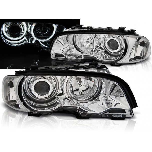 Frontlykter BMW E46 04.99-03.03 COUPE / CABRIO ANGEL EYES CHROME CCFL