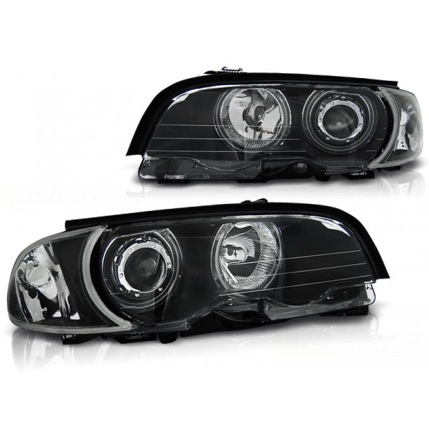 Frontlykter BMW E46 04.99-03.03 COUPE / CABRIO ANGEL EYES CCFL BLACK