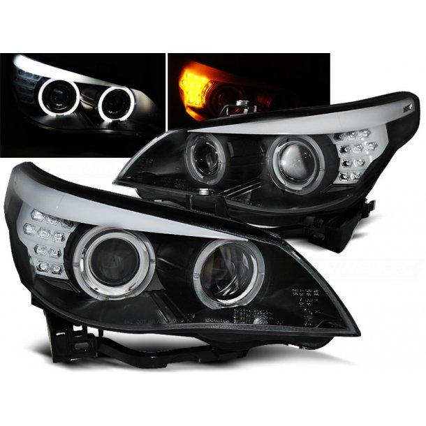 Frontlykter BMW E60/E61 03-07 BLACK LED INDIC.