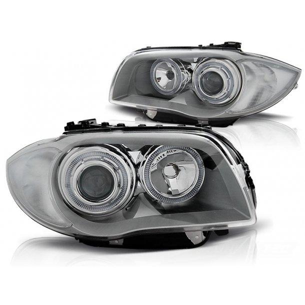 Frontlykter BMW 1 E87/E81/82/88 04-11 CHROME LED Halo Rims