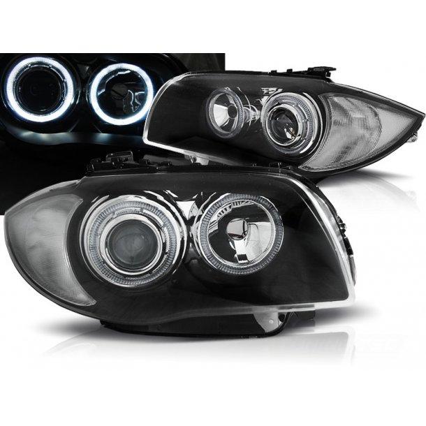 Frontlykter BMW 1 E87/E81/82/88 04-11 BLACK LED Halo Rims