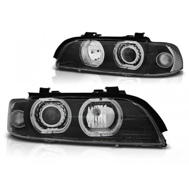 Frontlykter BMW E39 09.95-06.03 ANGEL EYES LED  H7/H7 BLACK