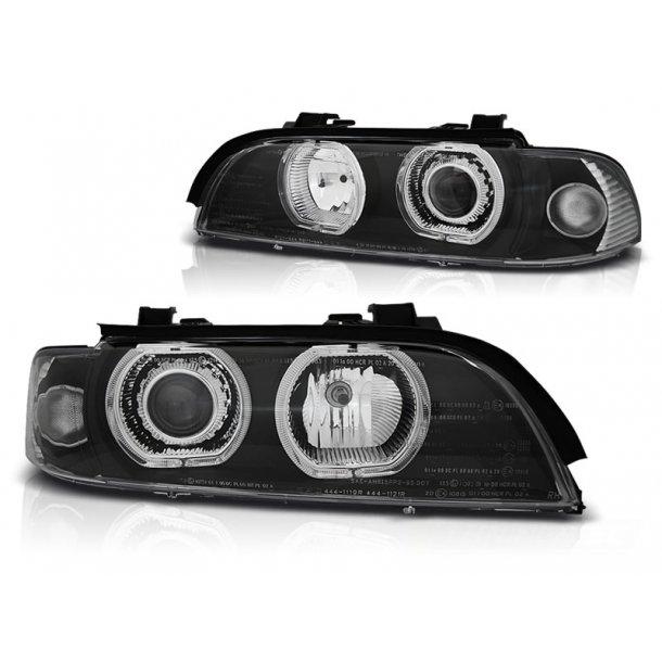 Frontlykter BMW E39 09.95-06.03 ANGEL EYES LED D2S/H7 BLACK