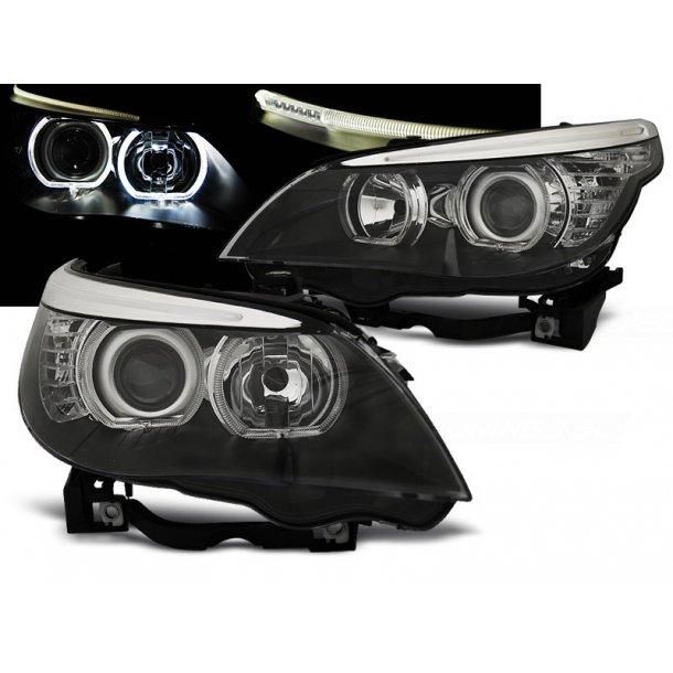 Frontlykter BMW E60/E61 03-07 LED ANGEL EYES H7/H7 BLACK