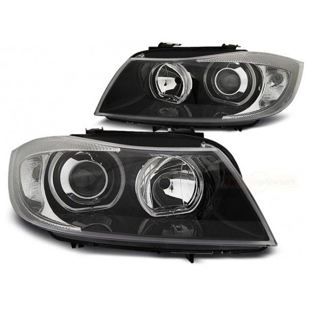 Frontlykter BMW E90/E91 03.05-08.08 LED ANGEL EYES BLACK