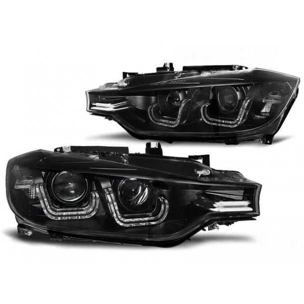 Frontlykter BMW F30/F31 10.11 05.15 BLACK U-LED BAR HID