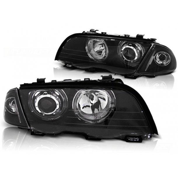Frontlykter BMW E46 05.98-08.01 S/T ANGEL EYES LED BLACK