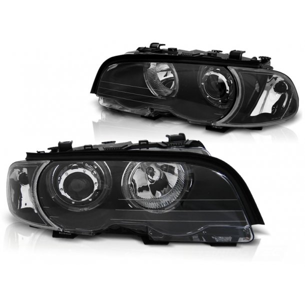 Frontlykter BMW E46 04.99-03.03 COUPE / CABRIO ANGEL EYES LED BLACK