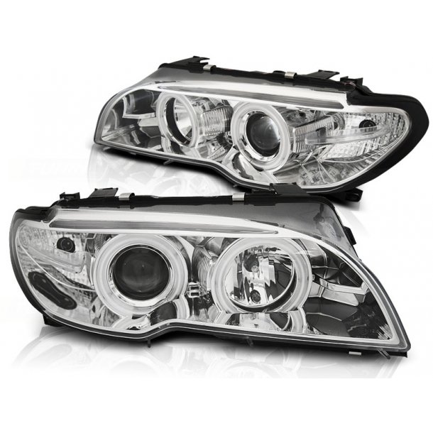 Frontlykter BMW E46 04.03-06 COUPE / CABRIO ANGEL EYES CCFL CHROME
