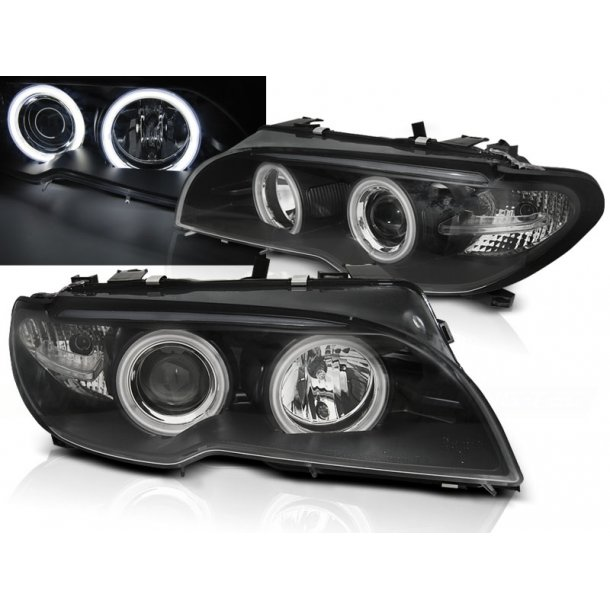 Frontlykter BMW E46 04.03-06 COUPE /  CABRIO ANGEL EYES CCFL BLACK