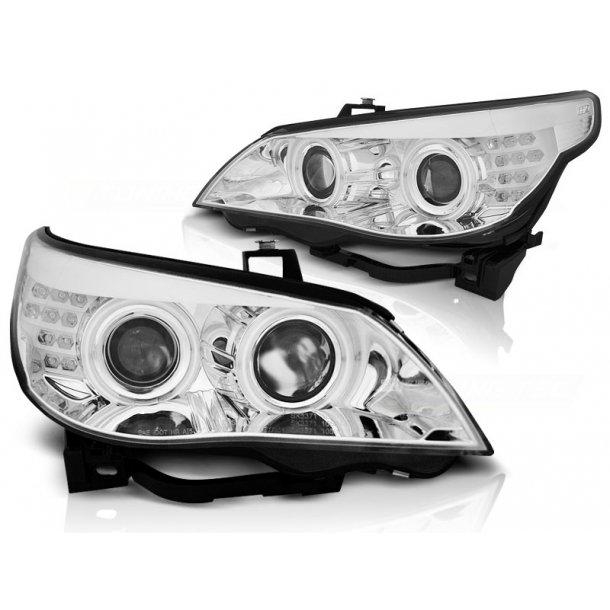 Frontlykter BMW E60/E61 03-07 ANGEL EYES CHROME LED