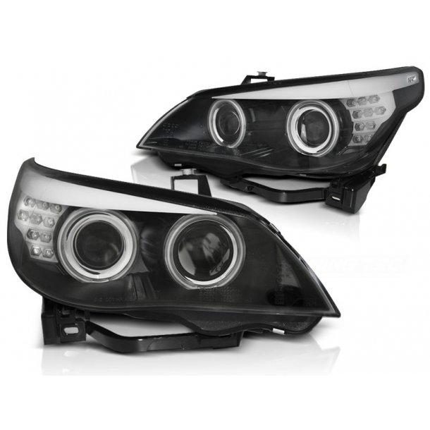 Frontlykter BMW E60/E61 03-07 ANGEL EYES BLACK LED