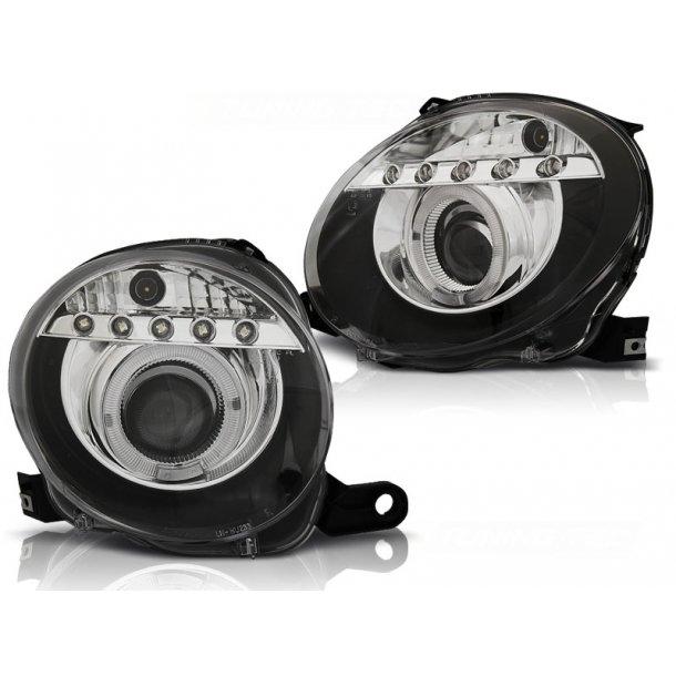 Frontlykter FIAT 500 07- PROJEKTOR BLACK LED