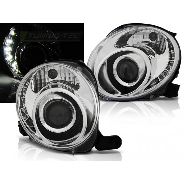 Frontlykter FIAT 500 07-  CHROME LED
