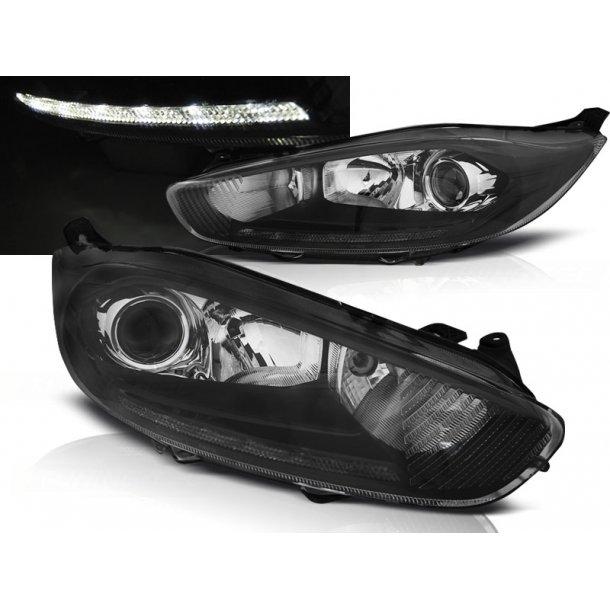 Frontlykter FORD FIESTA MK7 13- LED DRL BLACK