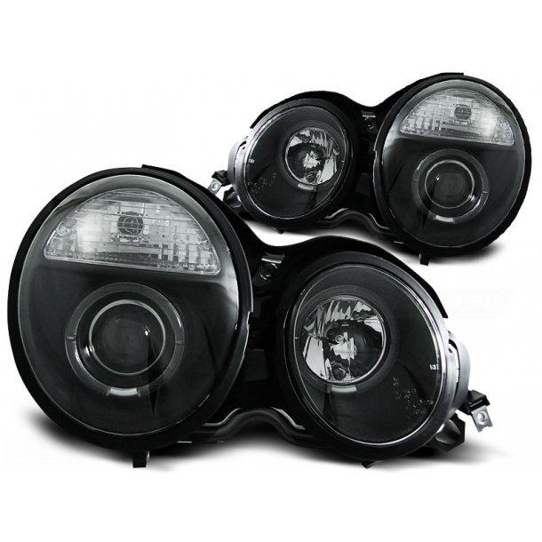Frontlykter MERCEDES W210 E-KLASSE 95-05.99 ANGEL EYES BLACK