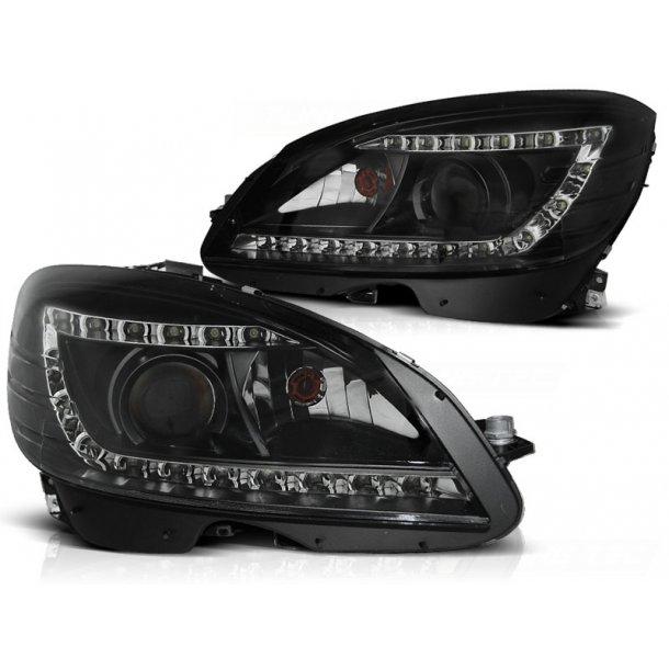 Frontlykter MERCEDES W204 07-10 BLACK H7 LED