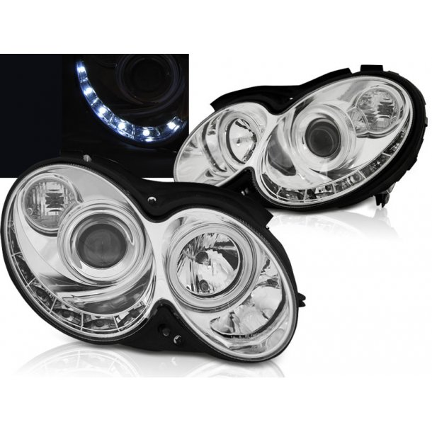 Frontlykter MERCEDES CLK W209 03-10 CHROME LED + W5W