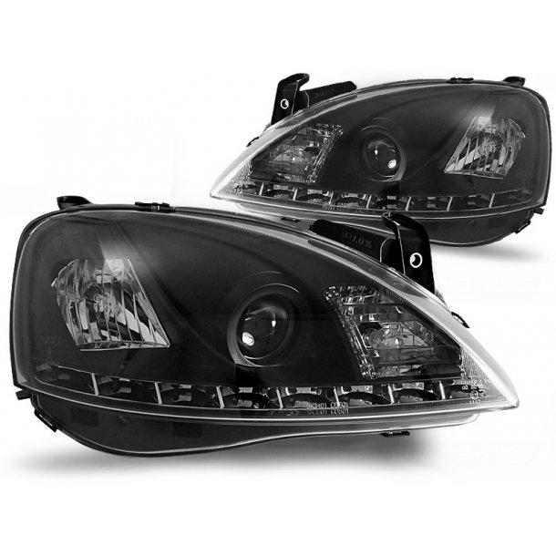 Frontlykter OPEL CORSA C 11.00-09.06 BLACK LED