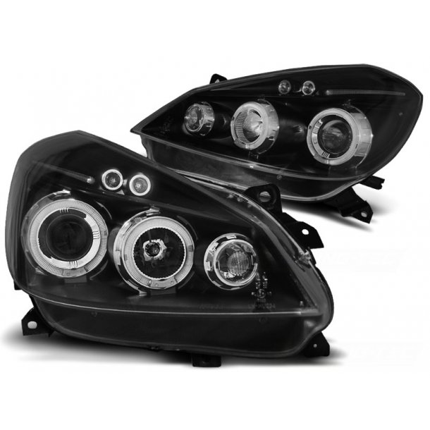 Frontlykter RENAULT CLIO 3 05-09 BLACK ANGEL EYES Halo Rims